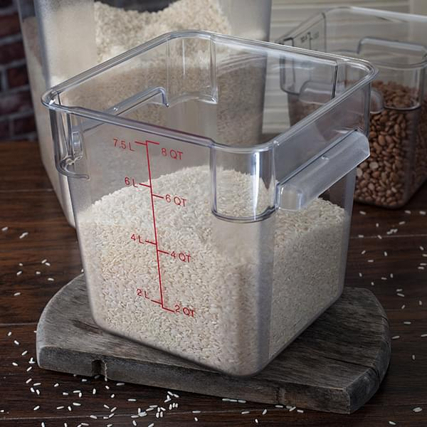 The Carlisle FoodService Products Clear StorPlus™ Square Food Storage Container